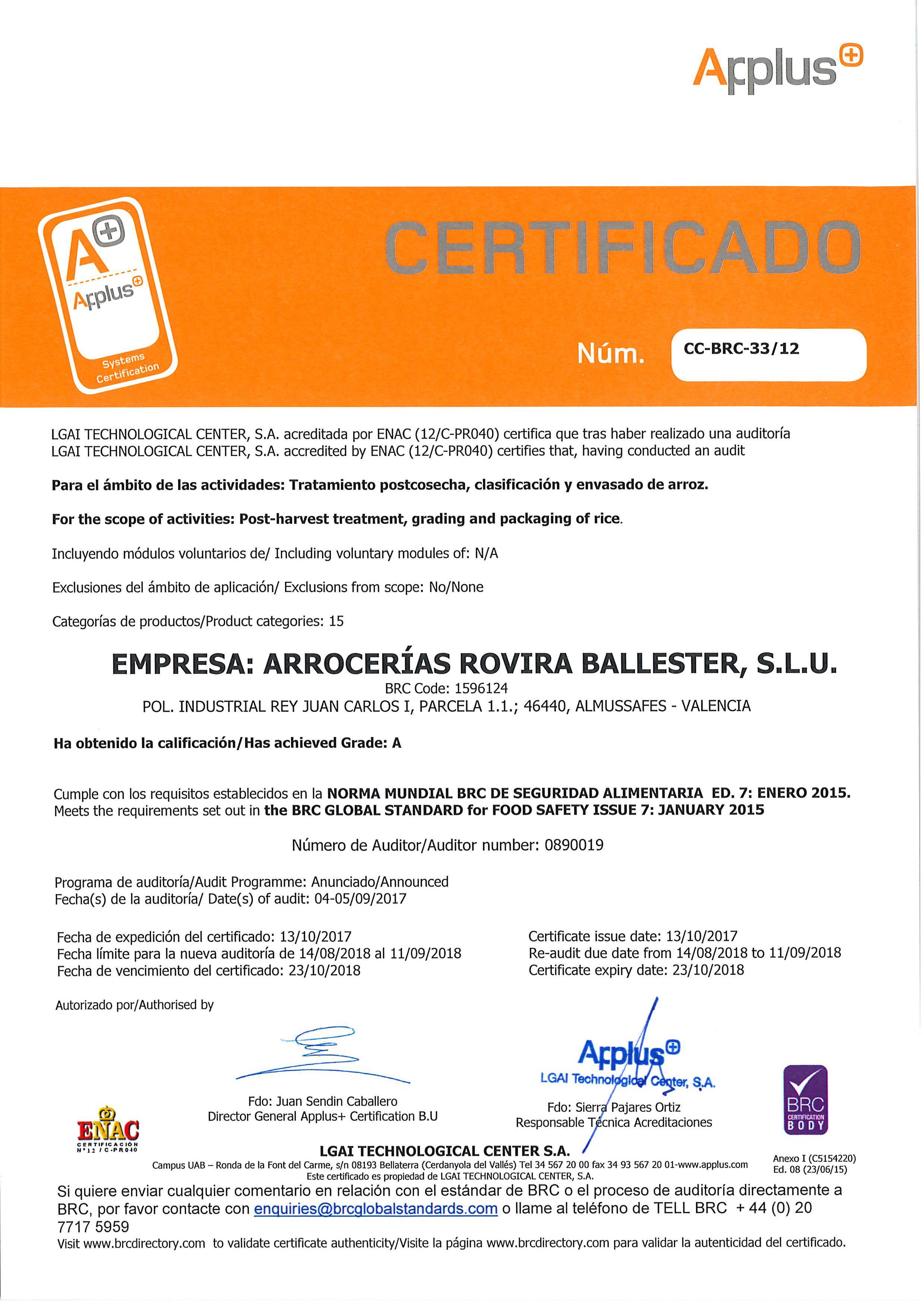 BRC Food Certificate 23102018